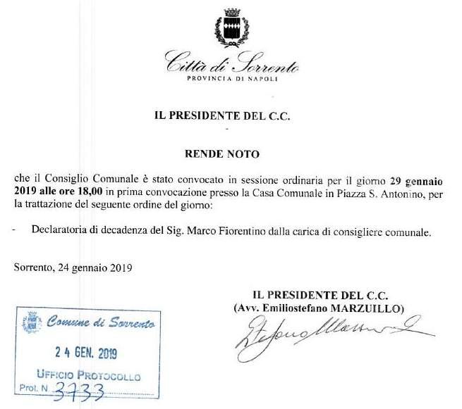 Fiorentino Consiglio Decadenza